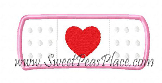 Bandaid with Heart Applique Embroidery Design