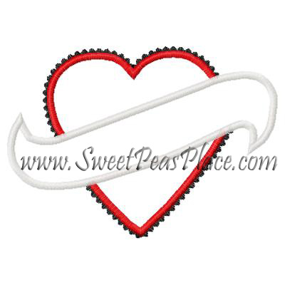 Heart with Banner Applique Embroidery Design