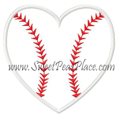 Heart Baseball Applique Embroidery Design