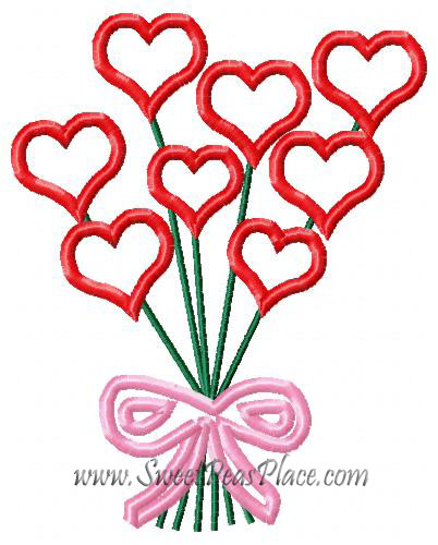 Heart Bouquet Applique Embroidery Design