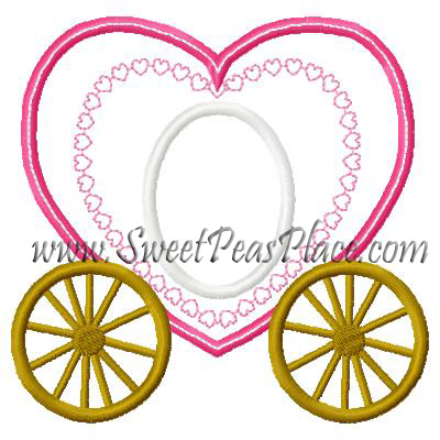 Heart Carriage Applique Embroidery Design