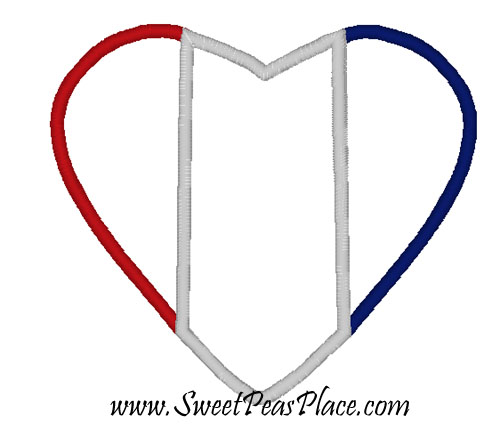 Heart Flag Applique Embroidery Design