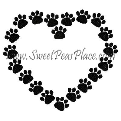 Paw Print Heart Embroidery Design