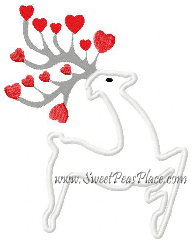 Heart Reindeer Applique Embroidery Design