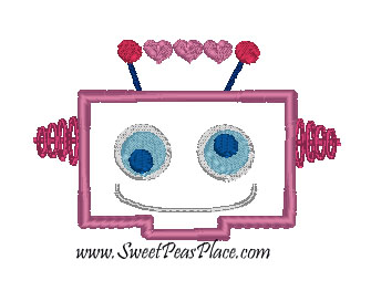 Heart Robot Head Applique Embroidery Design