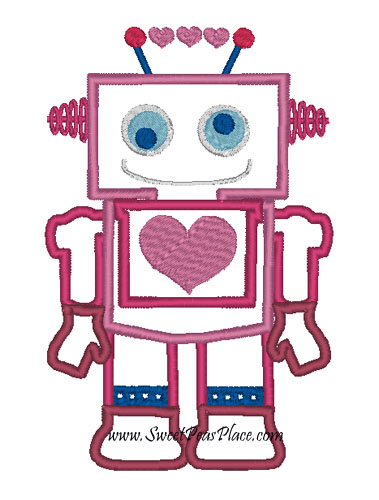 Heart Robot Applique Embroidery Design