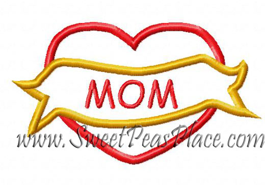 Heart Mom Applique Embroidery Design