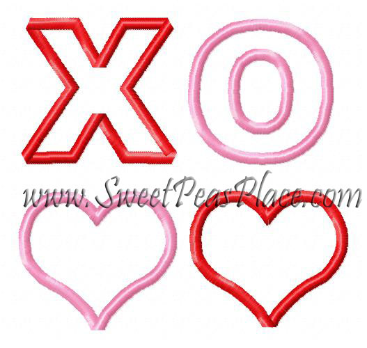 Heart Hugs and Kisses Applique Embroidery Design