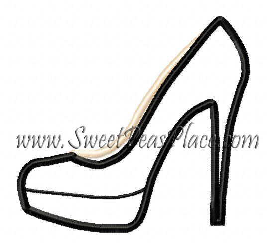 High Heel Applique Embroidery Design