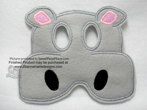 Hippo Mask in the Hoop Applique Embroidery Design