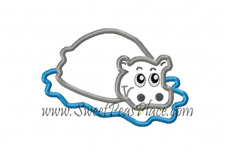 Hippopotamus Hippo Applique Embroidery Design