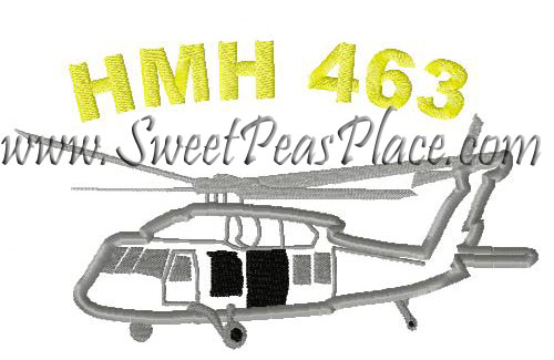 HMH 463 Helicopter Applique Embroidery Design