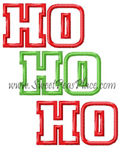 Ho Ho Ho Applique Embroidery Design