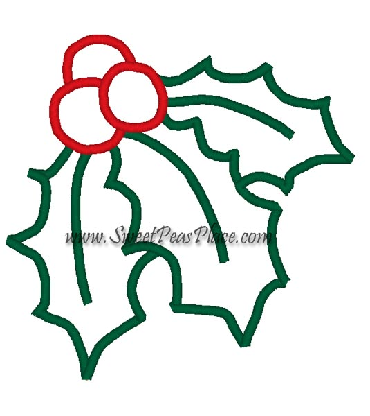 Holly Applique Embroidery Design