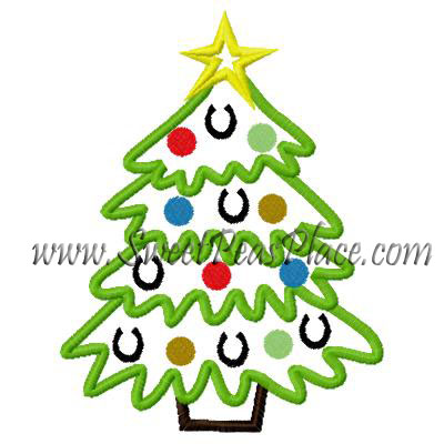 Horse Shoe Christmas Tree Applique Embroidery Design