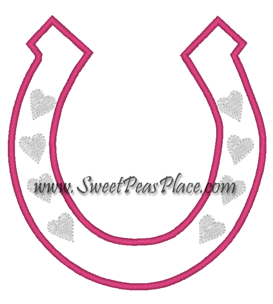 Horse Shoe Girl Applique Embroidery Design