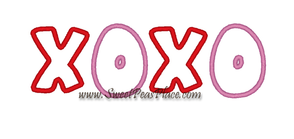Hugs and Kisses Valentine Embroidery Applique Design