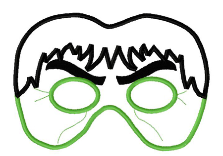 Green Monster Mask in the Hoop Applique Embroidery Design