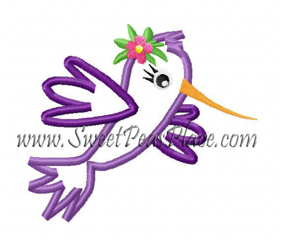 Hummingbird Applique Embroidery Design