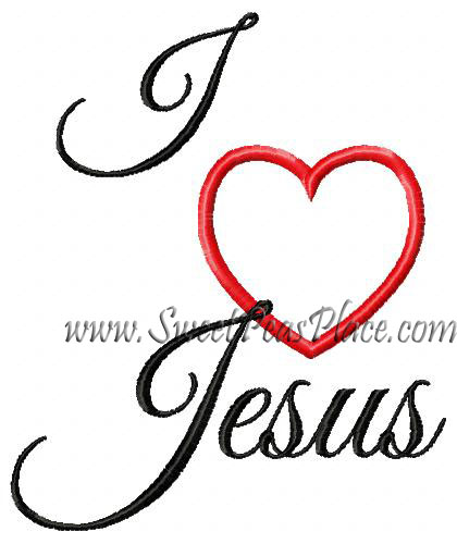 I Heart Jesus Applique Embroidery Design