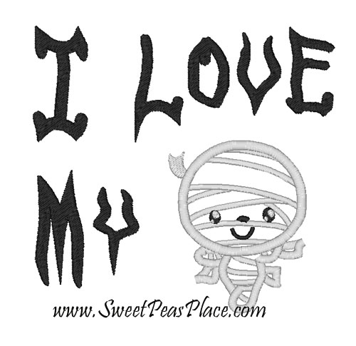 I Love my Mummy Applique Embroidery Design