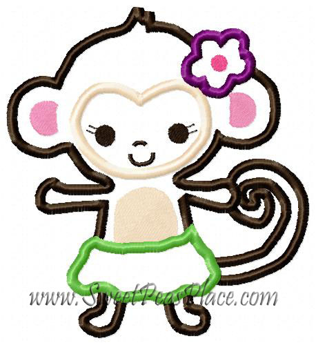 Hula Monkey Applique Embroidery Design