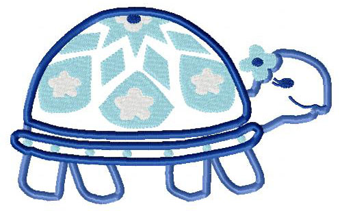 Pokey Turtle Applique Embroidery Design