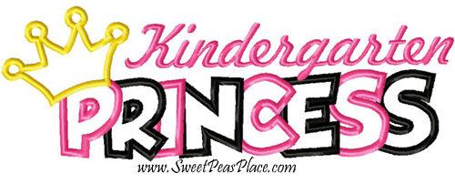 Kindergarten Princess Applique Embroidery Design
