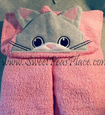Kitty Hat Towel Topper Applique Embroidery Design