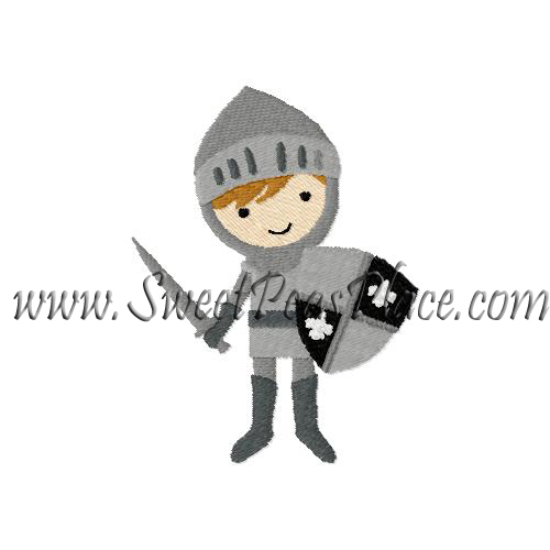Knight with Shield Embroidery Design