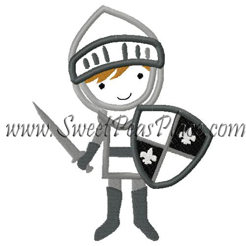 Knight with Shield Applique Embroidery Design