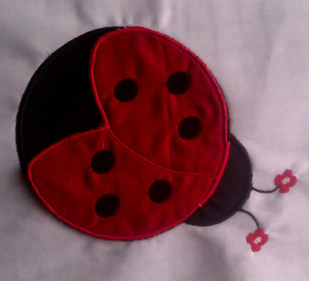 Ladybug Emily with Stand Alone Wings Applique Embroidery Design
