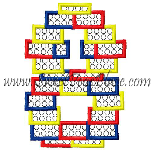 Block Number Eight Applique Embroidery Design