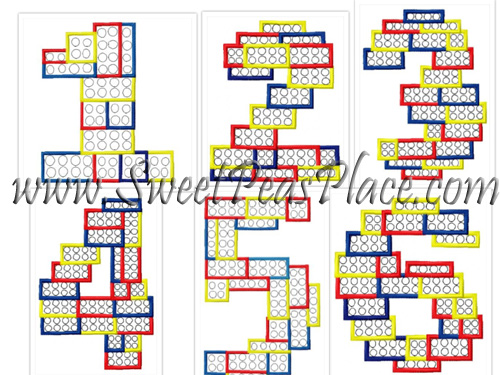 Block Number Applique Set Numbers 1-6