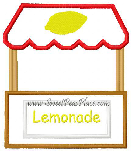 Lemonade Stand Applique Embroidery Design
