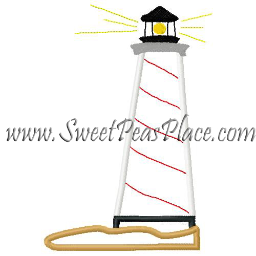 At Sea Lighthouse Applique Embroidery Design Sweet Peas