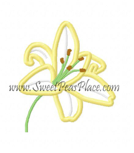 Lily Applique Embroidery Design