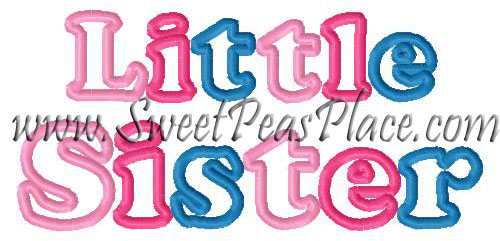 Little Sister Applique Embroidery Design