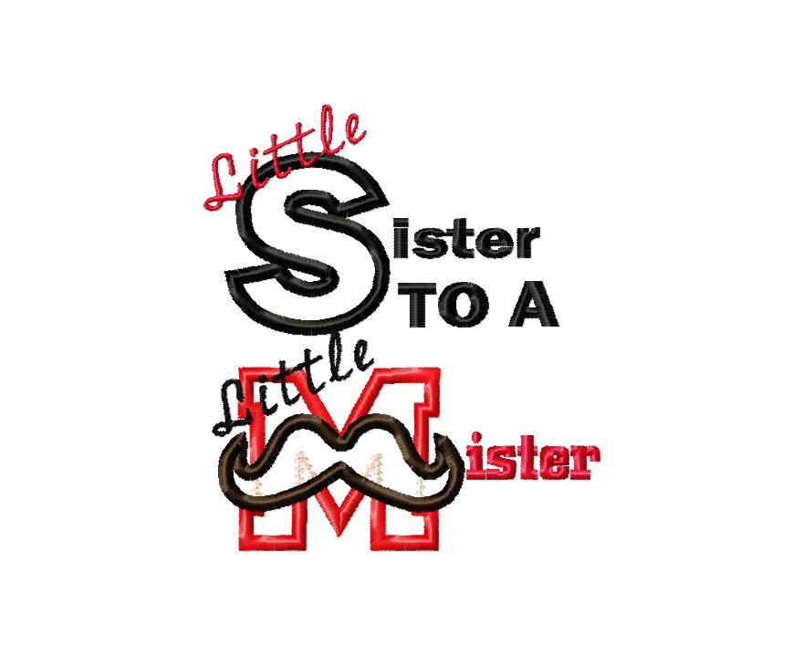 Little Sister to a Little Mister Applique Embroidery Design
