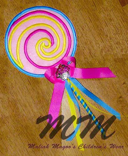 Lollipop Wand in The hoop Applique Embroidery Design