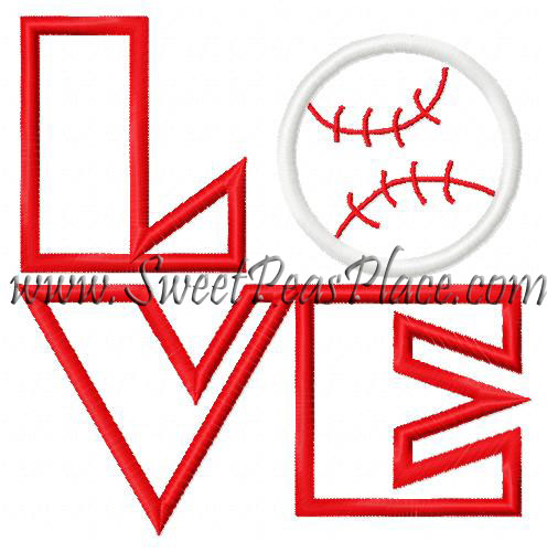 Love Baseball Applique Embroidery Design