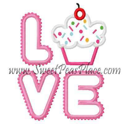 Love Cupcake Applique Embroidery Design
