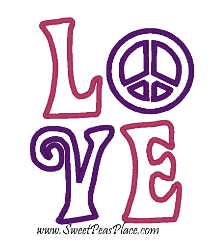 Love Peace Applique Embroidery Design