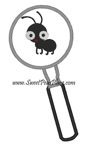 Ant In Magnifying Glass for Vinyl Applique Embroidery Design