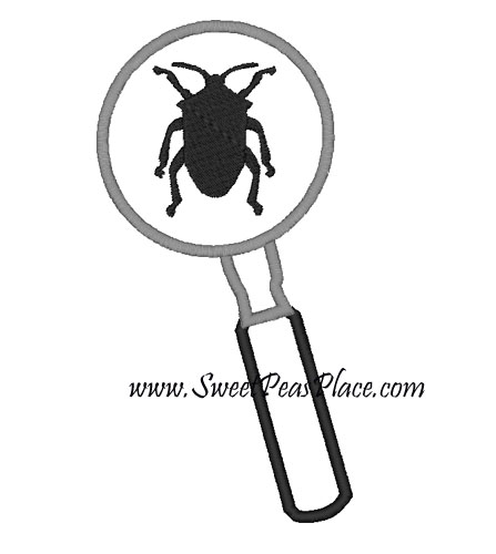 Magnifying Glass with Beetle for Vinyl Applique Embroidery Desig