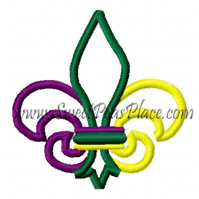 Mardi Gras Fleur Applique Embroidery Design