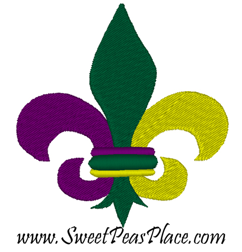 Mardi Gras Fleur Filled Embroidery Design including Mini
