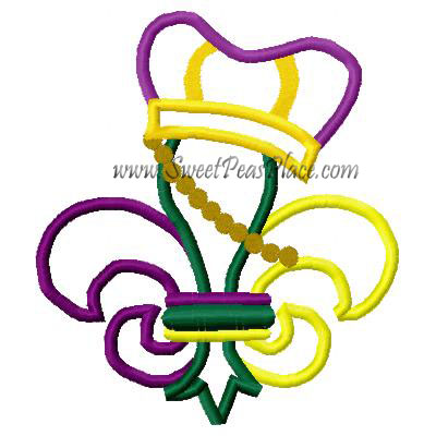 Mardi Gras Fleur with Crown Applique Embroidery Design