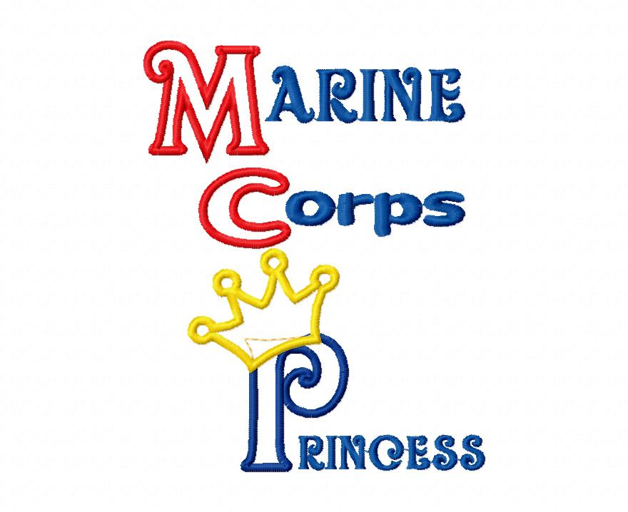 Marine Corp Princess Applique Embroidery Design