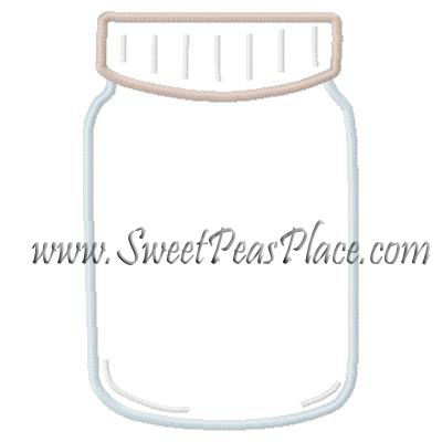 Mason Jar Applique Embroidery Design